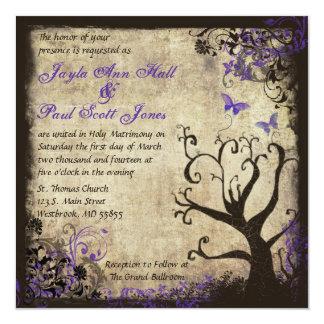 "Purple Butterfly Vintage Wedding Invitation 5.25"" Square Invitation Card"