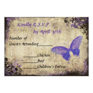 Purple Butterfly Vintage Wedding RSVP Invitation