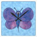 Purple Butterfly. Wall Clocks
