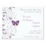 Purple Butterfly Whimsy Save the Date Announcement