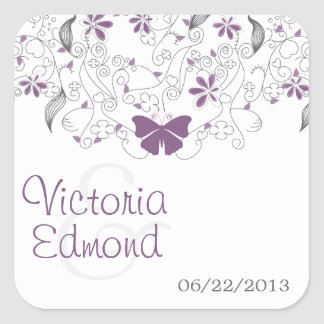 Purple Butterfly Whimsy Wedding Stickers
