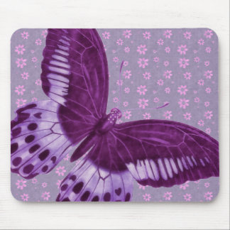 Purple Butterfly with Floral Pattern Mouse Pad