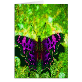 Purple butterfly with green background card