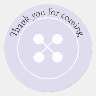 Purple Button Baby Shower Favor Sticker