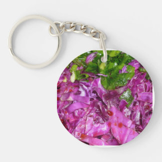 purple cabbage green onions vegetable food keychain
