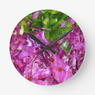 purple cabbage green onions vegetable food round clock