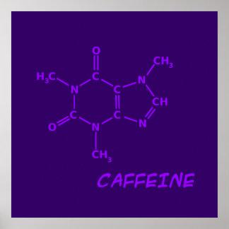Purple Caffeine Molecule Poster