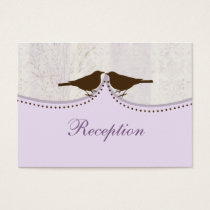 purple cage, love birds wedding reception cards