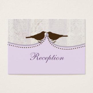purple cage, love birds wedding reception cards