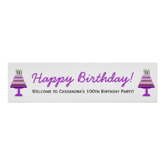 Purple Cake 100th Birthday Party Banner Poster