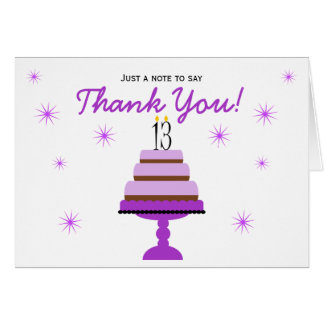 Purple Cake 13th Birthday Thank You Note Card