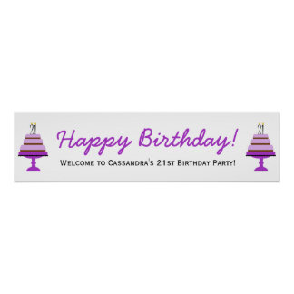Purple Cake 21st Birthday Party Banner Poster