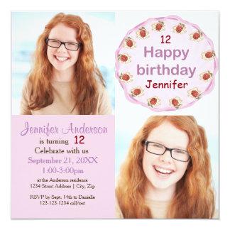 Purple Cake 2 Photos - Birthday Invitation