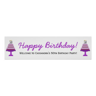 Purple Cake 50th Birthday Party Banner Poster