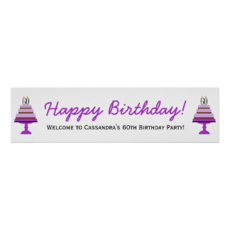 Purple Cake 60th Birthday Party Banner Poster