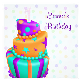Purple Cake Presents Girls 1st Birthday Party Announcement