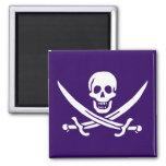 Purple Calico Jack 2 Inch Square Magnet