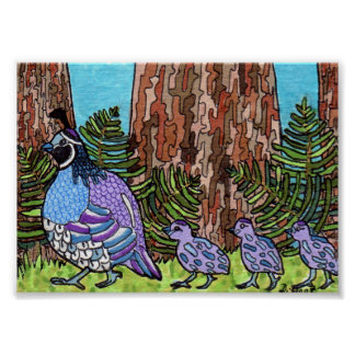 Purple California Quail with Babies Mini Folk Art Poster