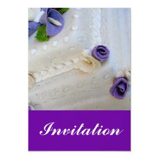Purple calla lilie and white wedding cake card