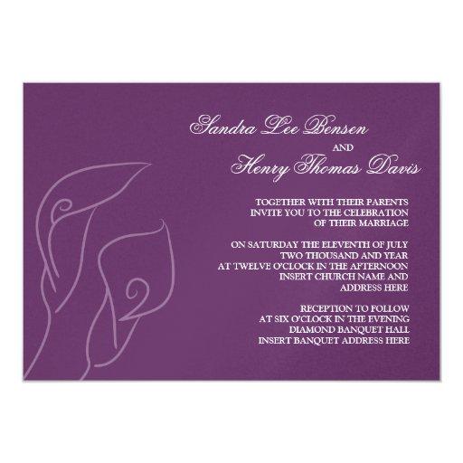 Purple Calla Lilies Wedding Invitation