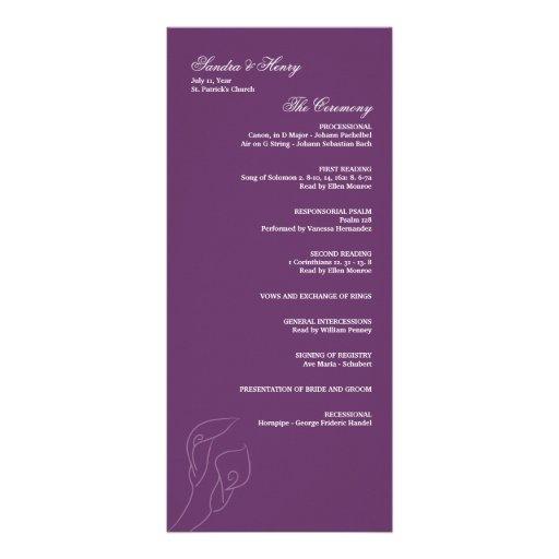 Purple Calla Lilies Wedding Program Rack Card Template