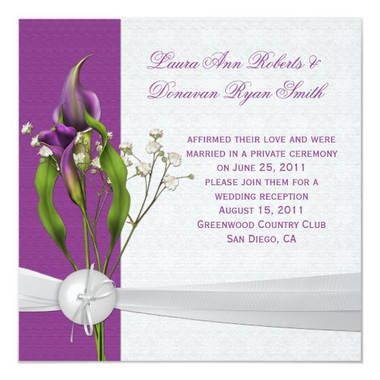 Purple Calla Lilies White Damask Post Wedding Invitation