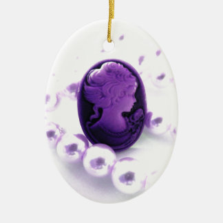 Purple cameo with beads ceramic ornament