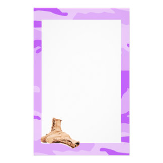 Purple Camo and Combat Boots Stationery