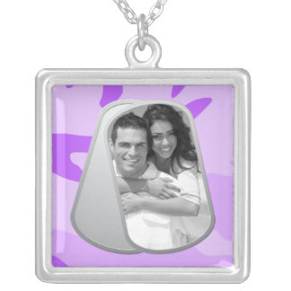 Purple Camo and Customizable Photo Dog Tags Silver Plated Necklace