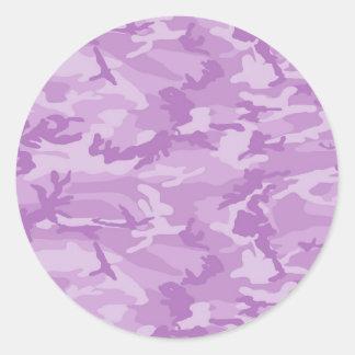 Purple Camo Classic Round Sticker