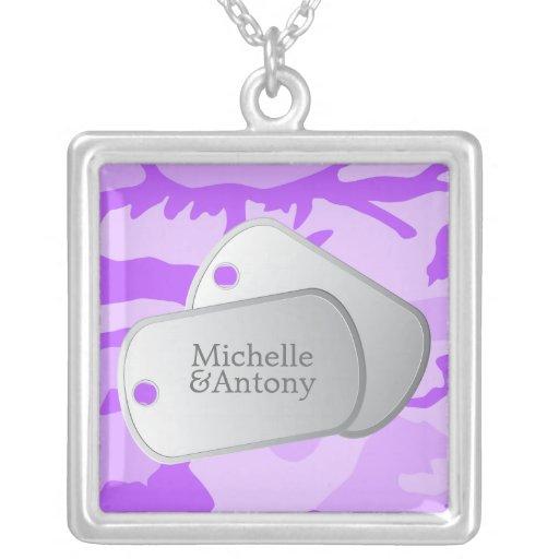 Purple Camo Customizable Dog Tags Square Pendant Necklace