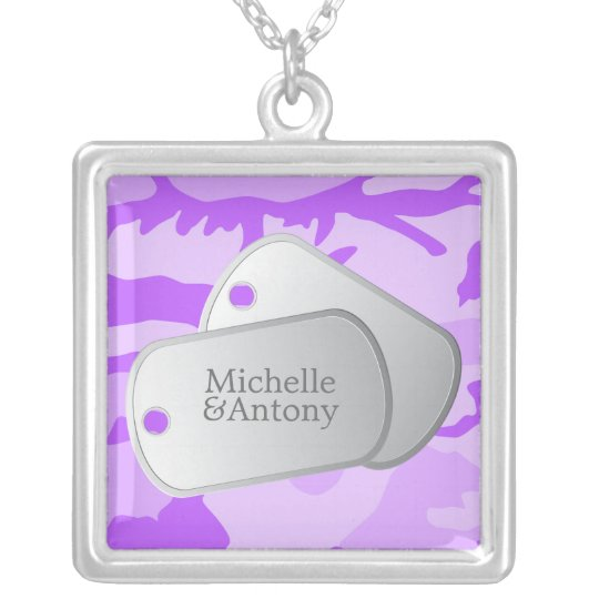 Purple Camo Customizable Dog Tags Silver Plated Necklace