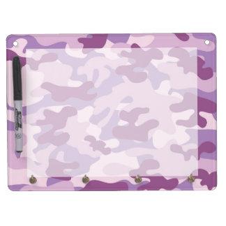 Purple Camo Design Dry Erase Board With Keychain Holder
