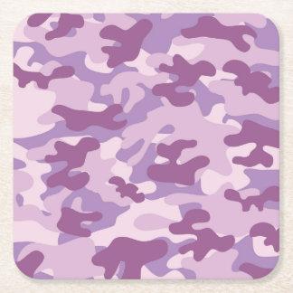 Purple Camo Design Square Paper Coaster