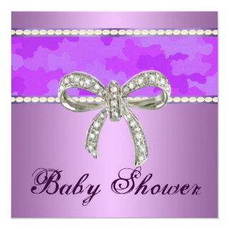 Purple Camo Diamond Bow Baby Shower Invitation