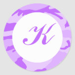 Purple Camo Envelope Seals Classic Round Sticker