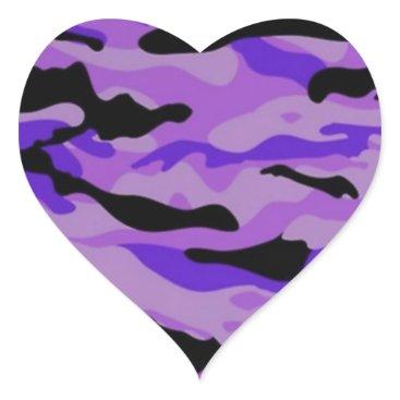 Purple Camo Heart Sticker