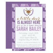 Purple Camo Little Deer Baby Shower Invite
