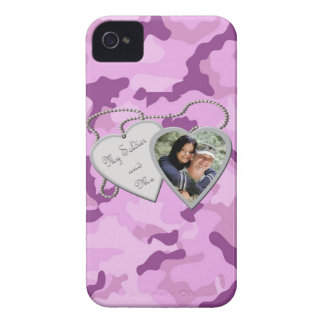 Purple Camo My Soldier & Me Custom Photo Blackberr Case-Mate iPhone 4 Cases