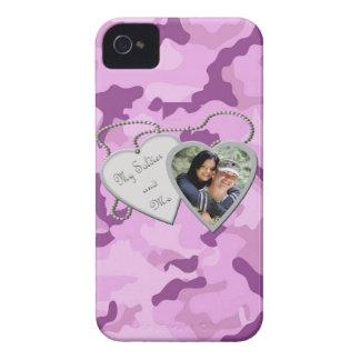 Purple Camo My Soldier & Me Custom Photo Blackberr iPhone 4 Cover