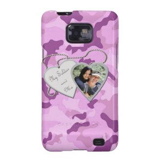 Purple Camo My Soldier & Me Hearts Custom Photo Sa Galaxy SII Cover