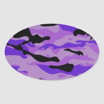 Purple Camo Oval Sticker