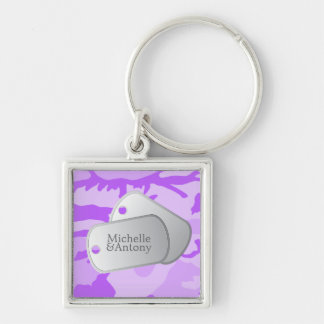 Purple Camo Pattern Customizable Photo & Dog Tags Keychains