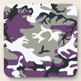 Purple Camouflage Cork Coaster
