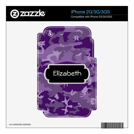 Purple Camouflage Pattern Monogram Phone Skin Decals For The iPhone 2G