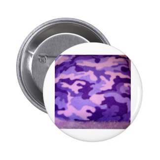 purple camouflage pinback button