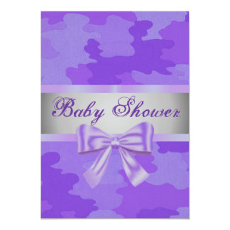Purple Camouflage Purple Bow Baby Shower Invite