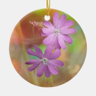 Purple Campion flower Ceramic Ornament