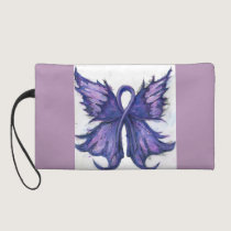 Purple Cancer or Lupus Ribbon with Butterfly Wings Wristlet