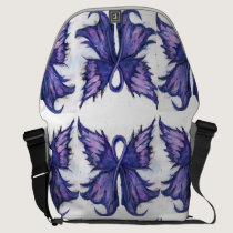 Purple Cancer Ribbon with butterfly wings Messenger Bag